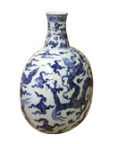 Chinese Blue White Porcelain Dragon Graphic Fat Body Vase cs2989S