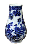Chinese Blue White Porcelain Flower Birds Graphic Vase cs2990S