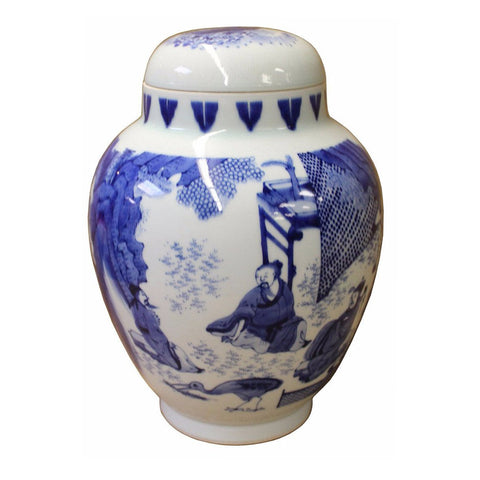 porcelain blue and white general jar scholar painting