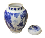 Chinese Blue White Porcelain People Theme Urn Jar Container cs3006S