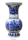 Chinese Blue White Porcelain People Theme Round Shape Vase cs3018S