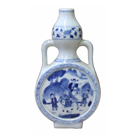 Chinese Blue White Porcelain People Theme Gourd Vase