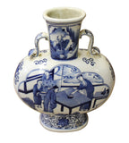 Chinese Blue White Porcelain People Theme Flask Shape Vase cs3025S