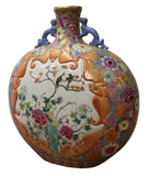 Chinese Famille Rose Dimensional Flower Bird Bats Flat Flask Vase