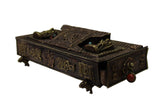 Chinese Metal Rectangular Beads Dimensional Motif Incense Burner Container cs3064S