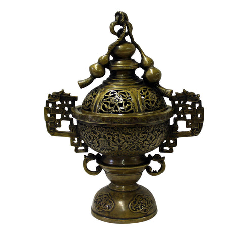 Chinese Oriental Fine Bronze Metal Incense Burner Display