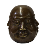 Chinese Bronze Metal Four Face Head Paperweight Display cs3081-1S