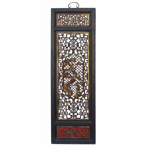 Chinese Flower Birds Red Black Golden Wood Wall Panel  cs3090BS