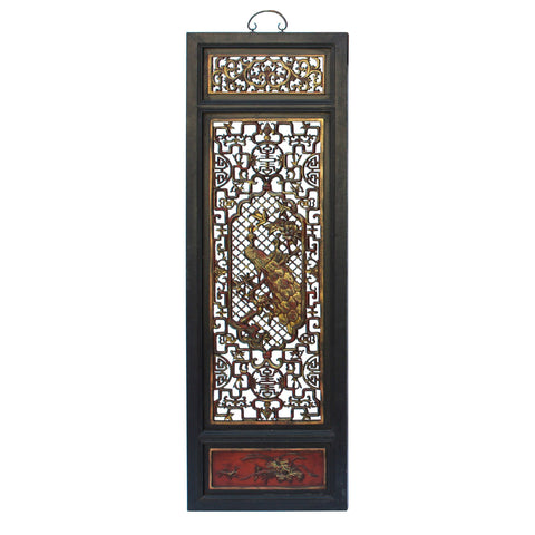 Chinese Flower Birds Red Black Golden Wood Wall Panel cs3090CS