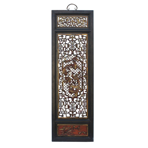 Chinese Flower Birds Red Black Golden Wood Wall Panel  cs3090DS