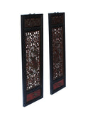 Chinese Flower Birds Red Black Golden Wood Wall Panel Set cs3090S