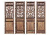 Antique tall carved wood panel - eight immortal