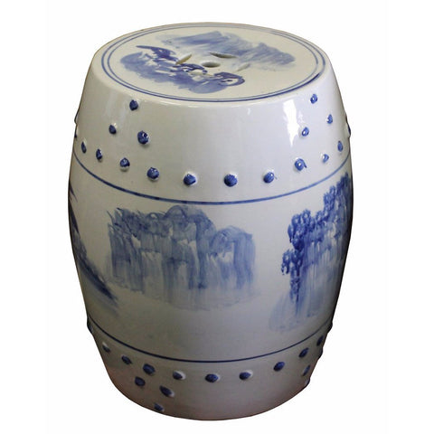 blue white scenery porcelain stool