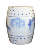 round shape ceramic blue white stool