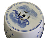 blue white round shape clay stool