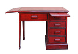 Chinese Distressed Red Writing Desk With Side Flip up,  Slide Table & Drawers cs3118S