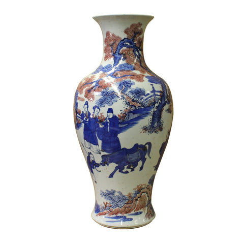 Chinese Red Blue White Porcelain Handpaint Scenery Tall Vase