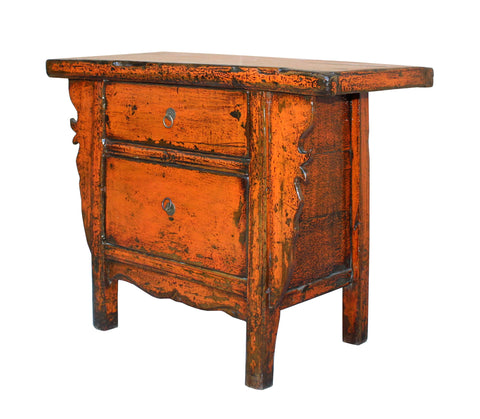 ... Chinese Rustic Rough Wood Distressed Orange Side Table Cabinet Cs3148S  ...