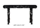 Chinese Dark Brown Black Huali Rosewood Scroll Birds Grape Leaf Altar Table cs3168S