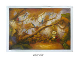 Oil Paint Canvas Art Tropical Forest Birds Play Wall Decor cs319S