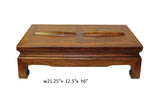 Brown Rosewood Simple Oriental Rectangular Rolling Bar Footrest Table cs3201S