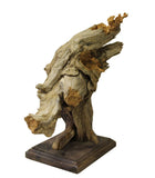 Chinese Cypress Raw Wood Carved Abstract Birds Theme Display Figure cs3205S