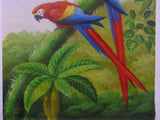 Oil Paint Canvas Art Two Tropical Jungle Parrots Wall Decor cs321S