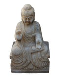 Chinese Distressed Brown White Stone Sitting Abhaya Mudra Buddha Statue cs3226S