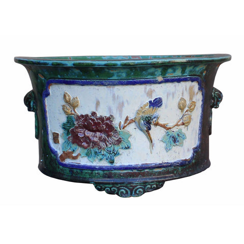 Chinese Clay Dimensional Flower Birds Round Green Glaze Planter