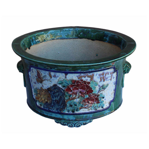 Chinese Ceramic Dimensional Flower Butterfly Round Green Glaze Planter