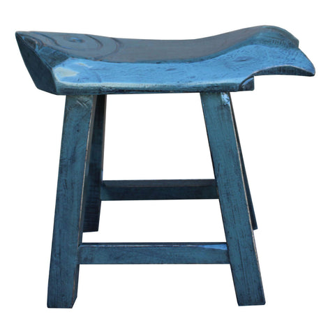 blue color fish shape thick wood stool