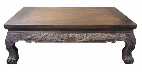 Brown Rosewood Oriental Dragons Carving Rectangular Display Table Stand cs3258S
