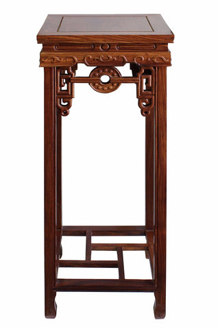 Chinese Medium Brown Wood Square Pedestal Plant Stand Table Cs3260S