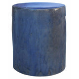 blue glace ceramic round stool