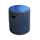 Blue Glaze ceramic round stool