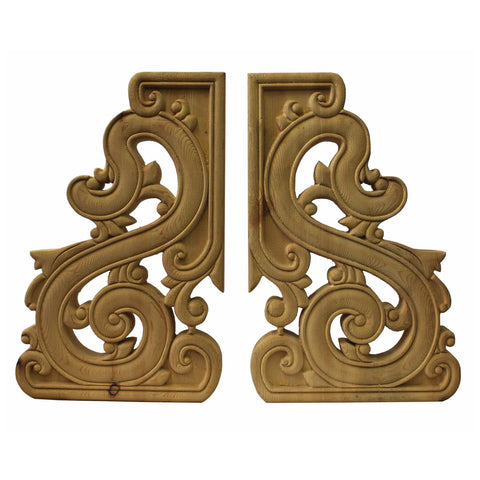 pair carved ceiling edge panel