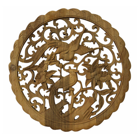 Chinese round shape phoenix wall panel