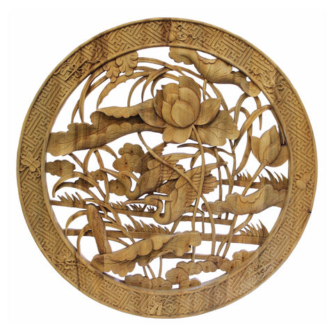 Chinese Round Flower Birds Wooden Wall Plaque Panel Cs3354s Golden