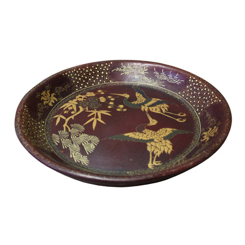 Chinese Brown Lacquer Golden Scenery Round Tray Display Art cs3423S