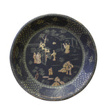 Black Lacquer Golden Scenery Round Tray Display Art