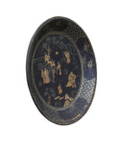 Chinese Black Lacquer Golden Scenery Round Tray Display Art cs3426S