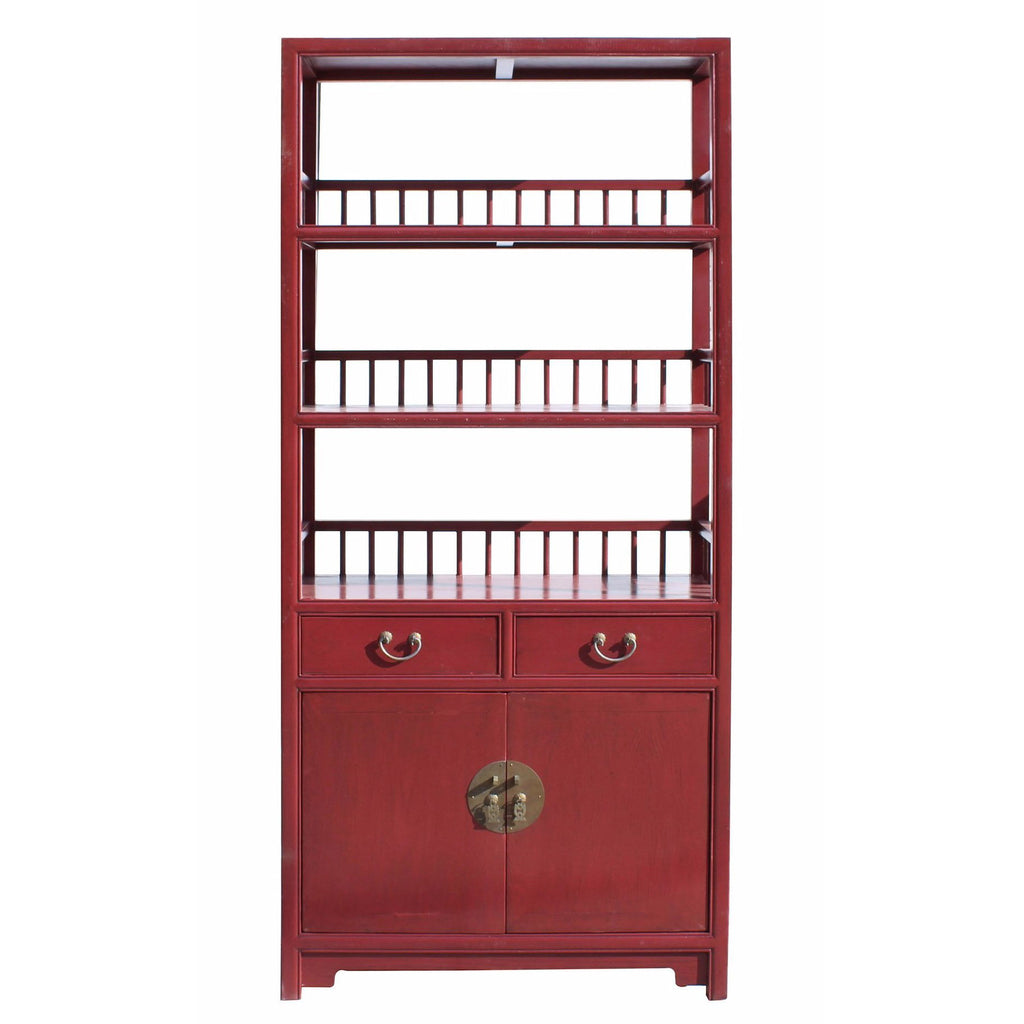 Chinese Distressed Matte Red 3 Shelves Bookcase Display Cabinet Cs3440s