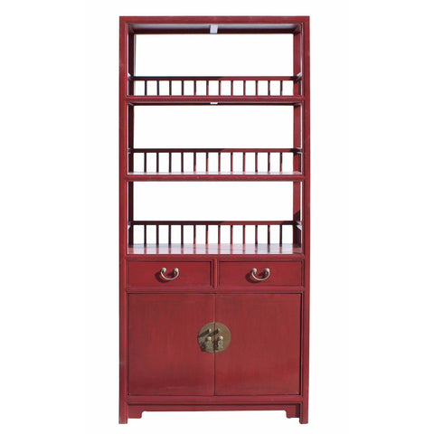 Chinese style red color book shelve