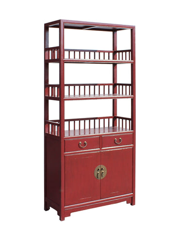 ... Chinese Distressed Matte Red 3 Shelves Bookcase Display Cabinet Cs3440S  ...