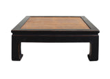 Black Lacquer Brown Bamboo Strip Top Square Curved Legs Coffee Table cs3441S
