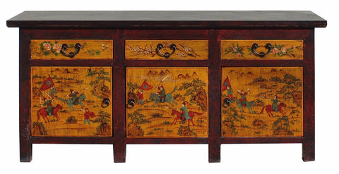 Chinese Distressed Yellow Red People Graphic Sideboard Console Table  Cabinet Cs3447S