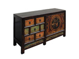 Chinese Distressed Orange Light Green Flower Sideboard Table Cabinet cs3465S