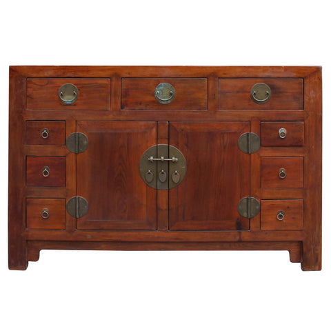 brown wood moon face buffet cabinet