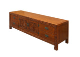 Chinese Brown Dragon Flower Motif Low TV Console Cabinet cs3471S