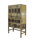 Chinese Distressed Light Green Lacquer Storage Open Panel Doors Cabinet cs3491S
